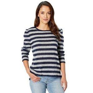Vince Camuto Stripe Blue Grey Fuzzy Sweater 1418